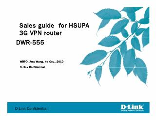 Sales guide for HSUPA 3G VPN router DWR-555 W...