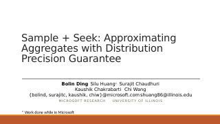 Sample + Seek:使用分布精度保...
