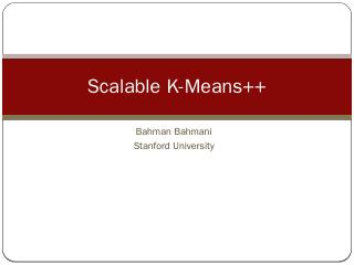 Scalable K-Means++ - Stanford University