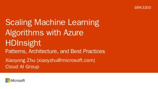Scaling Machine Learning Algorithms with Azur...