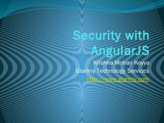 Security with AngularJS - Glarimy
