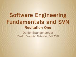 Software Engineering Fundamentals and SVN Rec...