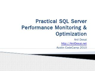 SQL Server Performance Monitoring & Optimizat...