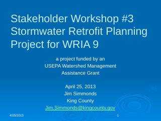 Stormwater Retrofit Planning Project for WRIA...