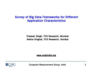 Survey of Big Data Frameworks for Different A...