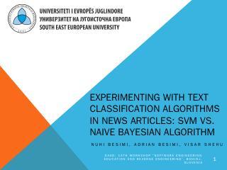 SVM vs. Naive Bayesian Algorithm