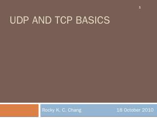 TCP and UDP basics