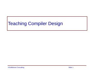 Teaching Compiler Design
