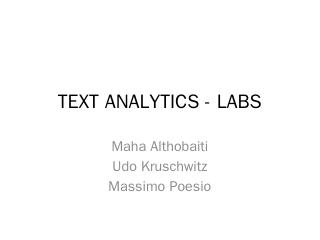 TEXT ANALYTICS - LABS
