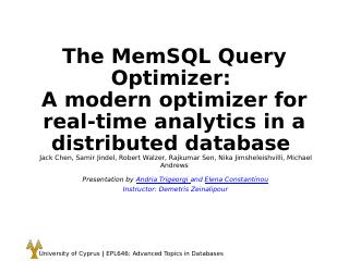 The MemSQL Query Optimizer