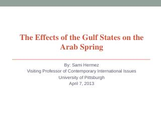 The Effects of the Gulf States on the Arab Sp...