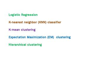 The Logistic Regression Model (Summary)