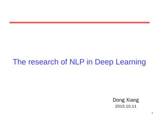 The research of NLP in Deep Learning