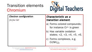 Transition elements Chromium - Digital Teache...