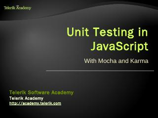 Unit Testing in JavaScript - Telerik Academy