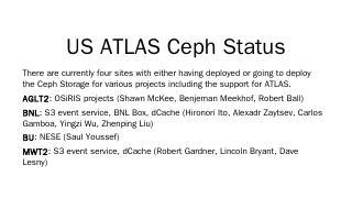 US ATLAS Ceph Status - CERN Indico