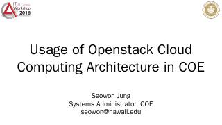 Usage of Openstack Cloud Computing Architectu...