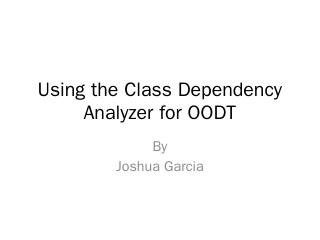 Using the Class Dependency Analyzer