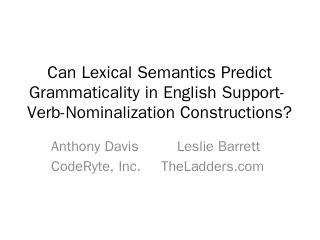 Verb-Nominalization Constructions?