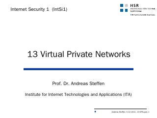 Virtual Private Networks - Security @ HSR