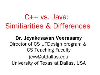 C++ vs. Java: Similiarities & Differences - U...