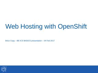 Web Hosting with Openshift - CERN Indico