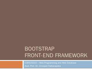 Web Programming - Choopan Rattanapoka