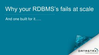 Why your RDBMS's fail...