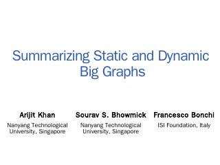 Why Graph Summarization - NTU